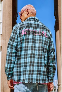 Blue Long Sleeve Oversized  Graffiti Print Check Shirt