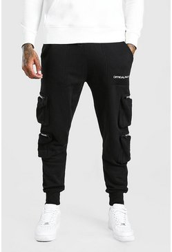 Black Official MAN Deep Cuff 3D Pocket Cargo Jogger