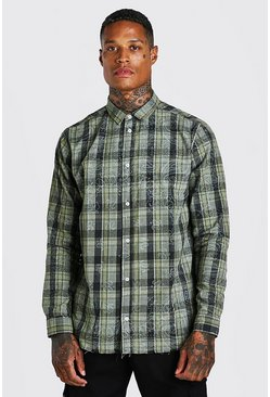 Green Long Sleeve Bandana Print Check Shirt