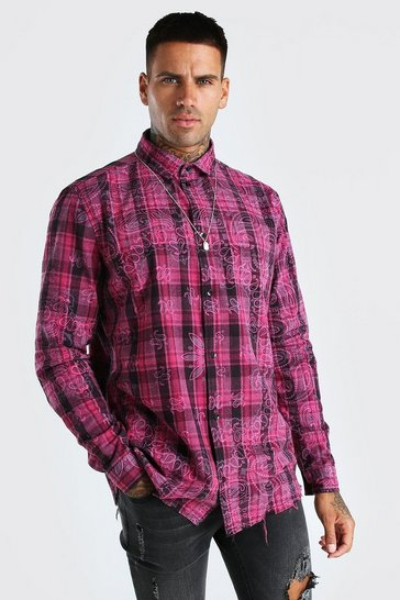 Pink Long sleeve bandana print check shirt