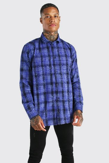 Purple Long sleeve bandana print check shirt
