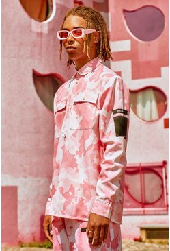 Pink Man utility pocket oveshirt in camo print