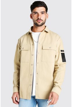 Stone beige MAN Utility Pocket Overshirt