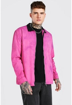 Pink Tie dye zip through overshirt with cord collar