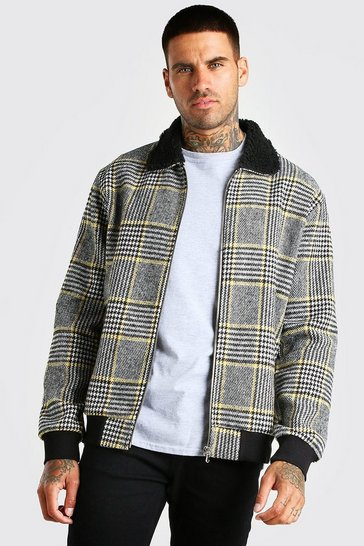 Black Check Borg Collar Unlined Bomber Jacket