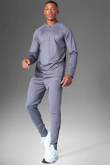 Charcoal grey Man Active 1/4 Zip Funnel Neck Tracksuit