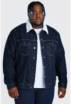 Dark blue blue Plus Size Denim Jacket With Borg Collar