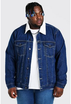 Mid blue blue Plus Size Denim Jacket With Borg Collar