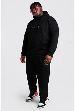 Black svart Plus Size Hooded Tracksuit With MAN Tab