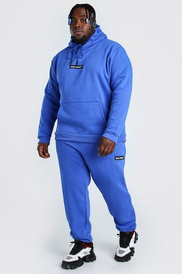 Cobalt blue Big And Tall Hooded Tracksuit With MAN Tab