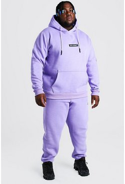 Lilac purple Plus Size Hooded Tracksuit With MAN Tab
