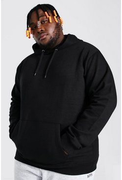 Black Plus Size Basic Over The Head Hoodie