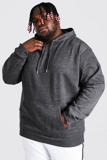 Charcoal grey Plus Size Basic Over The Head Hoodie