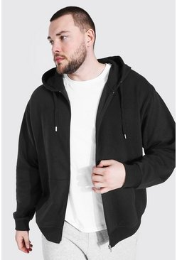 Black Plus Size Basic Zip Through Hoodie