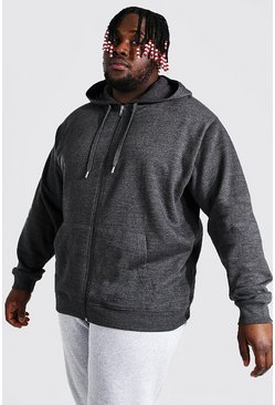 Charcoal grey Plus Size Basic Zip Through Hoodie