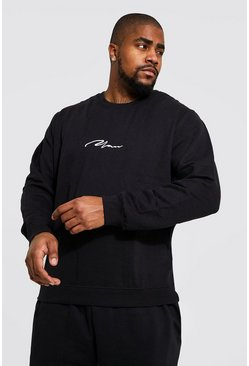 Black Plus Size Man Sweater Met Tekst