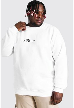 White Plus Size Man Sweater Met Tekst