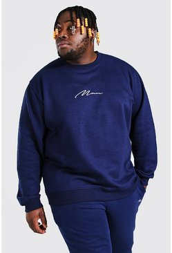 Navy Plus Size Man Sweater Met Tekst