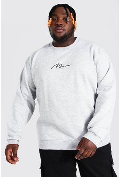 Grey marl grey Plus Size MAN Script Sweater