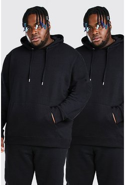 Black Plus Size 2 Pack Over The Head Hoodie