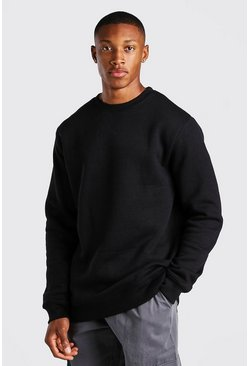 Black Longline Crew Neck Fleece Sweatshirt