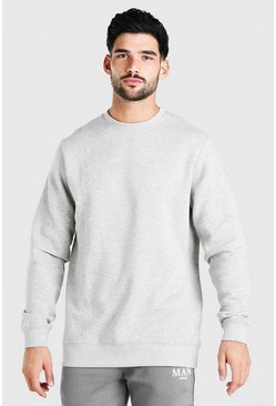 Grey marl Longline Crew Neck Fleece Sweatshirt