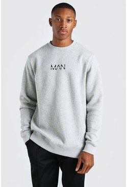 Grey marl grey Longline Original MAN Crew Fleece Sweatshirt