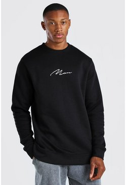 Black MAN Signature Longline Crew Neck Fleece Sweatshirt