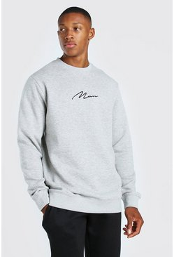 Grey marl grey MAN Signature Longline Crew Fleece Sweatshirt