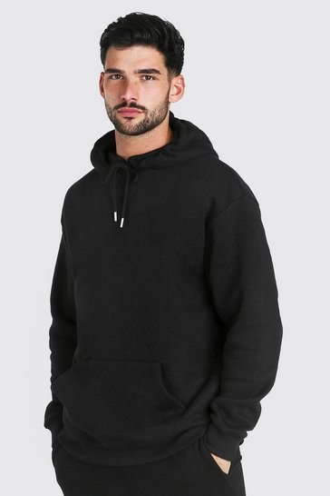 Black Loose Fit Drop Shoulder Over The Head Hoodie