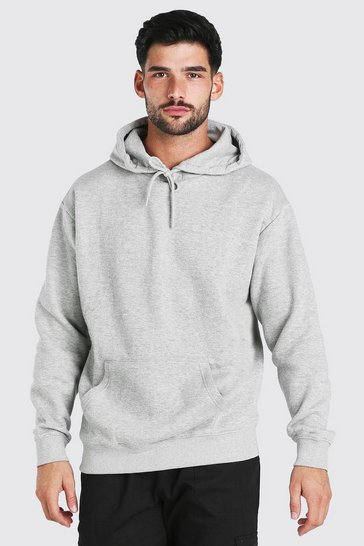 Grey marl grey Loose Fit Drop Shoulder Over The Head Hoodie
