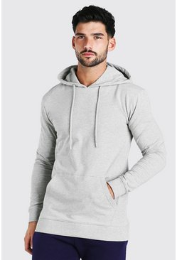 Grey marl grey Muscle Fit Over The Head Hoodie