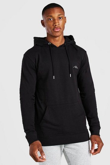 Black MAN Signature Muscle Fit Over The Head Hoodie