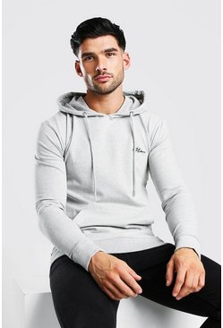 Grey marl grey MAN Signature Muscle Fit Over The Head Hoodie