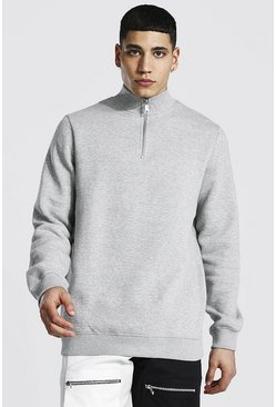 Grey marl grey Half Zip Funnel Neck Sweatshirt