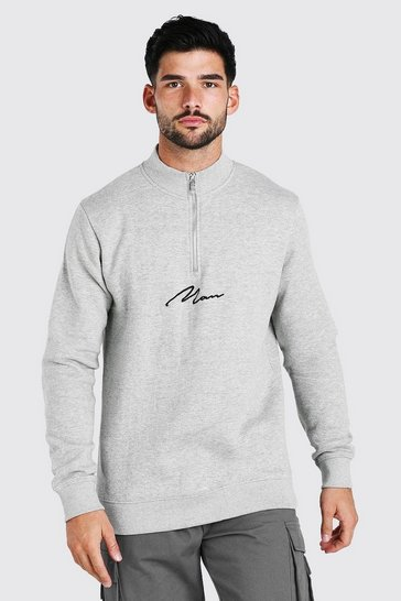 Grey marl grey MAN Signature Half Zip Funnel Neck Sweatshirt