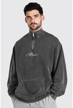 Charcoal grey MAN Signature Oversized Zip Acid Wash Sweatshirt