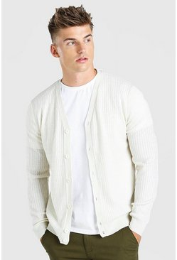 Cream white Cable Knit Button Through Cardigan