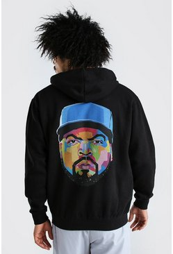 Black Ice Cube Back Print License Hoodie