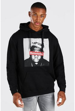 Black svart Biggie Notorious Crown Print License Hoodie