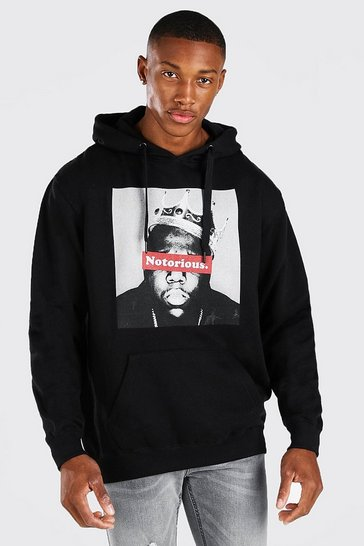 Black Biggie Notorious Crown Print License Hoodie