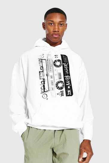 White Death Row Cassette Print License Hoodie