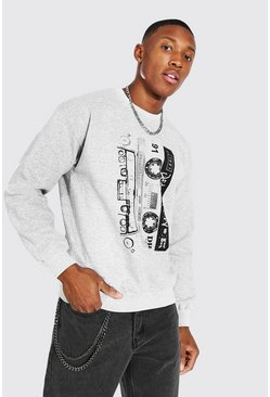 Grey marl grey Death Row Cassette Print License Sweater