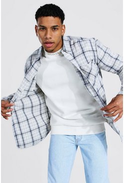 Oversized Check Shirt, Pale grey grigio