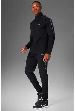 Man Active Skinny Tracksuit With Tape Detail, Black negro