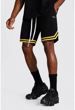 Black Original Man Mesh Basketball Tape Shorts