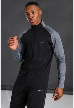 Active Funnel Neck Track Gym Top, Black nero