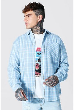 Oversized Check Shirt, Pale blue Синий