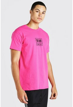 Pink rosa Oversized Complex Print T-Shirt