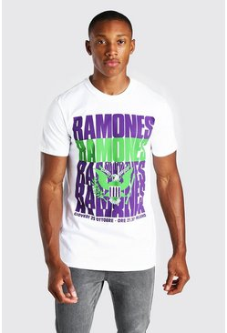 Wit white Ramones License Print T-Shirt
